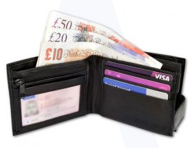 Black Leather Bifold RFID Wallet